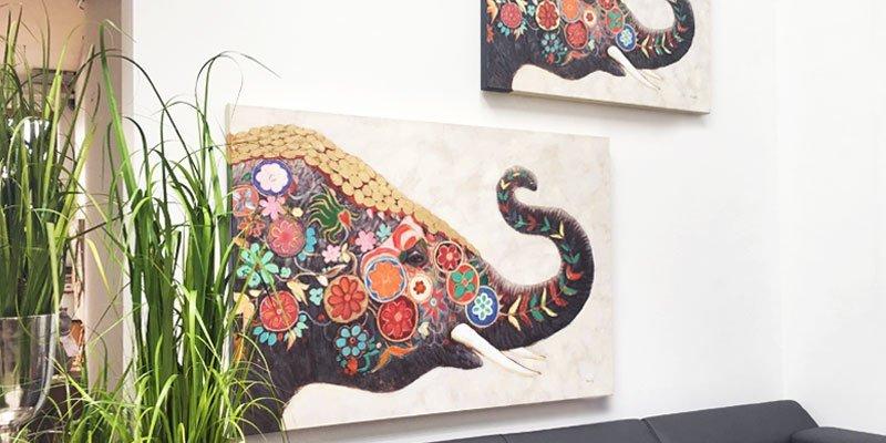 Bilder mit bunten Elefanten