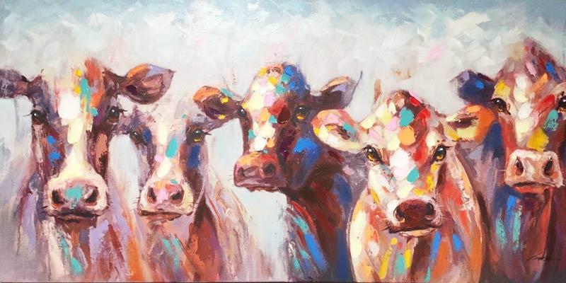 Bild mit Kühen in bunter Farbe