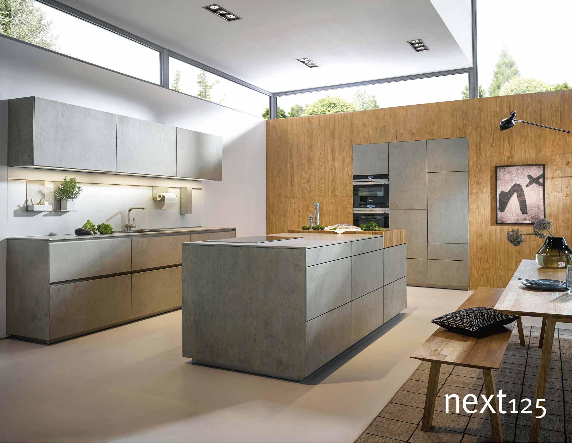 next125 Küche Keramik-Front nx950 in beton
