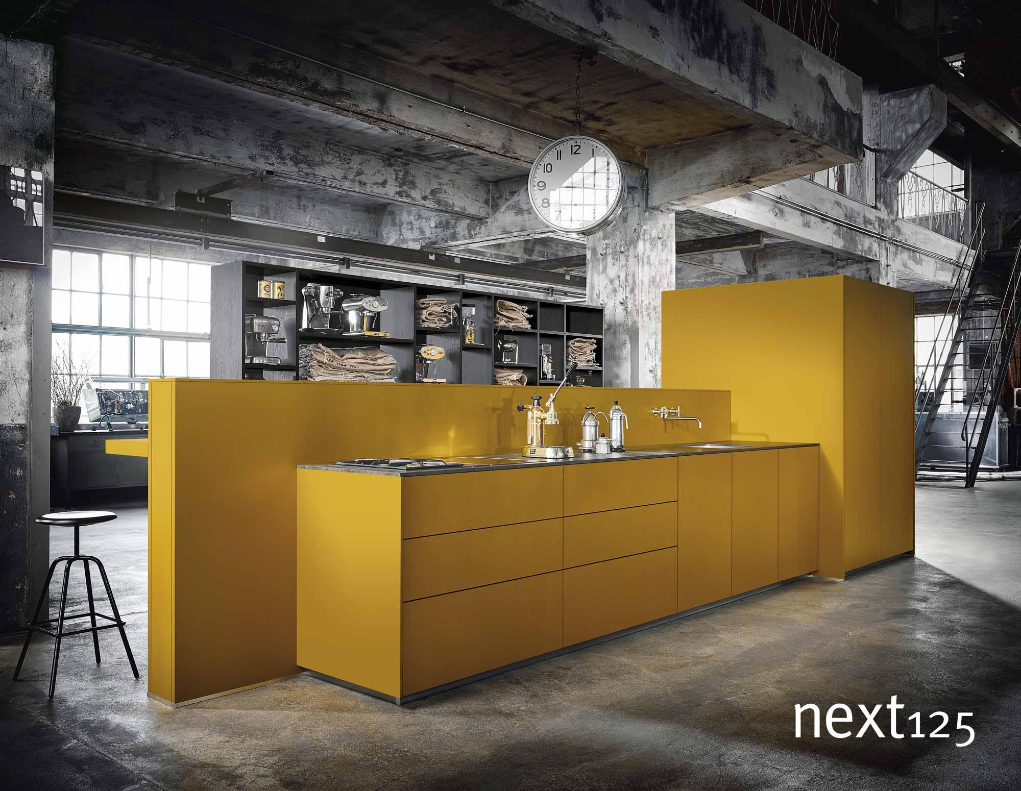 next125 Küche Satinlack-Front nx500 in gelb