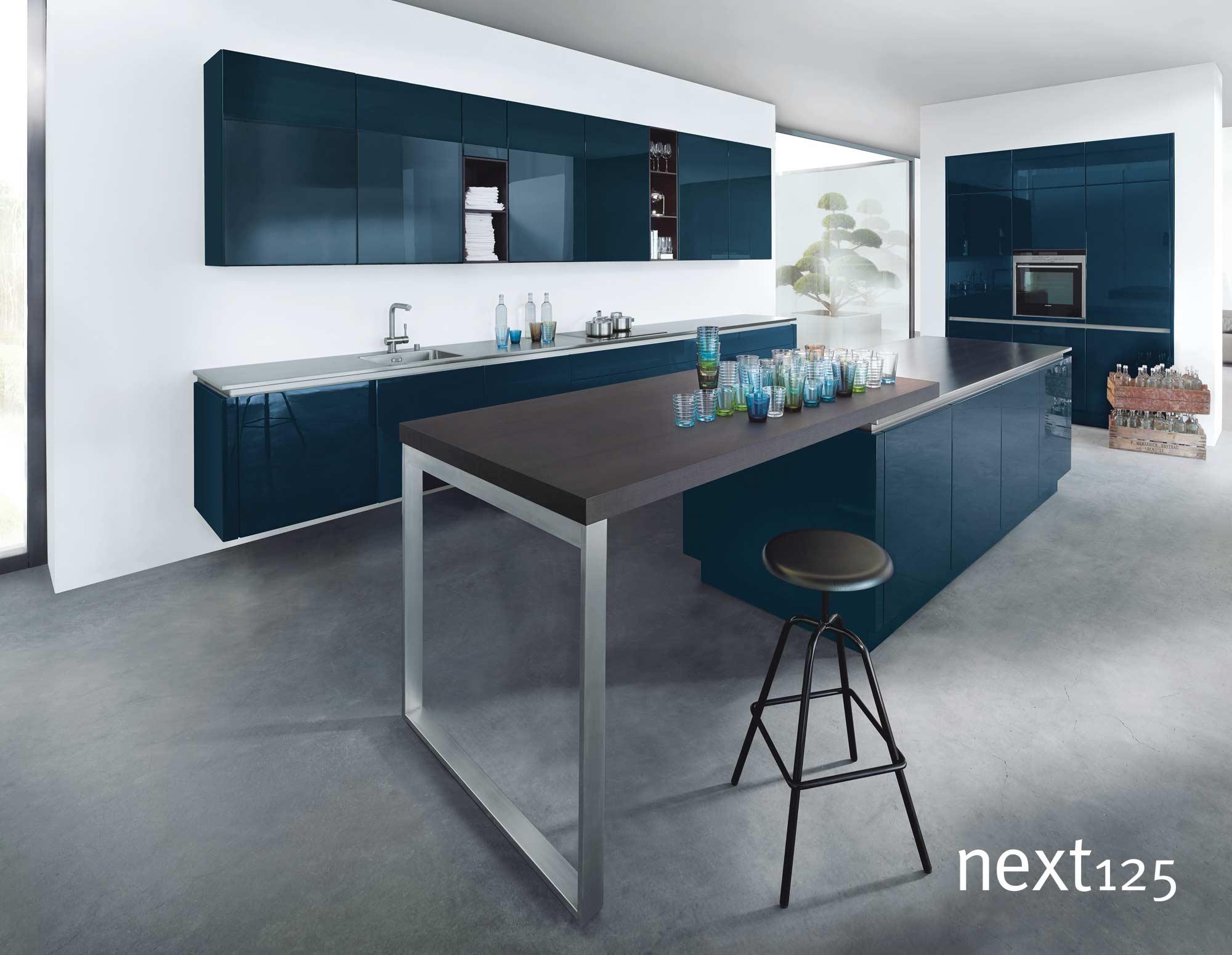 next125 Küche Hochglanz-Front nx501 in blau