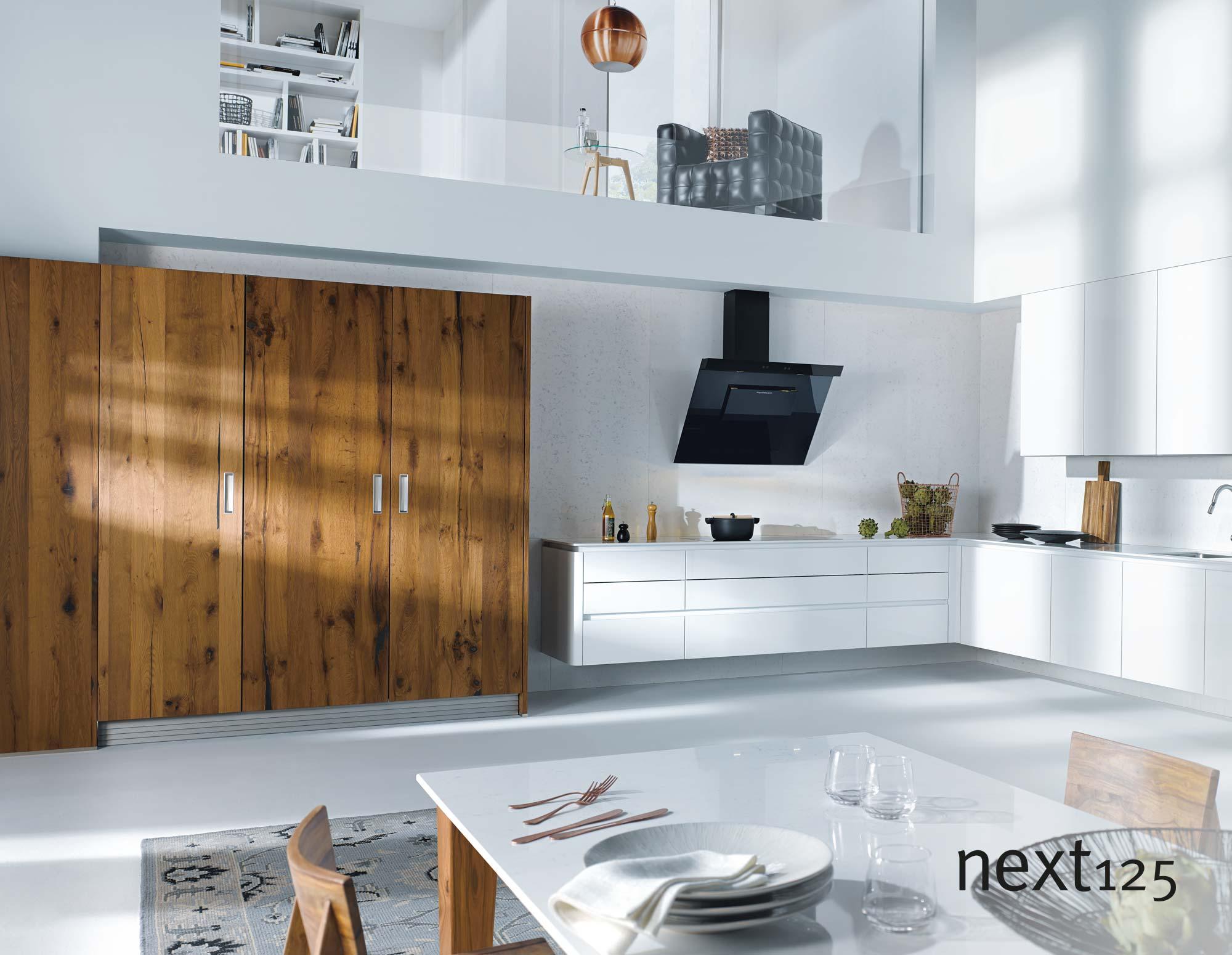 next125 Küche Hochglanz-Front nx501 in weiß