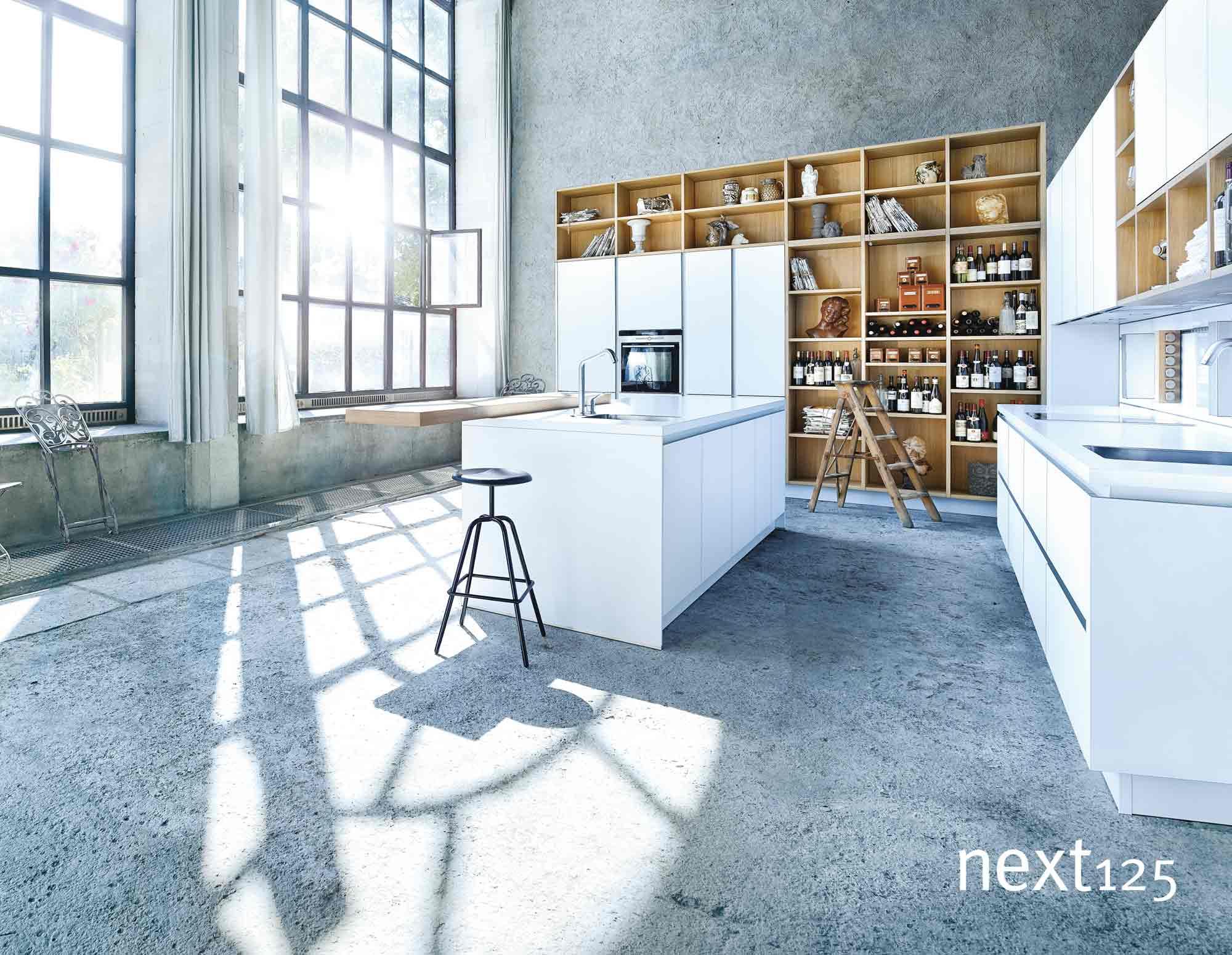 next125 Küche Glas-Front matt nx902 in weiß