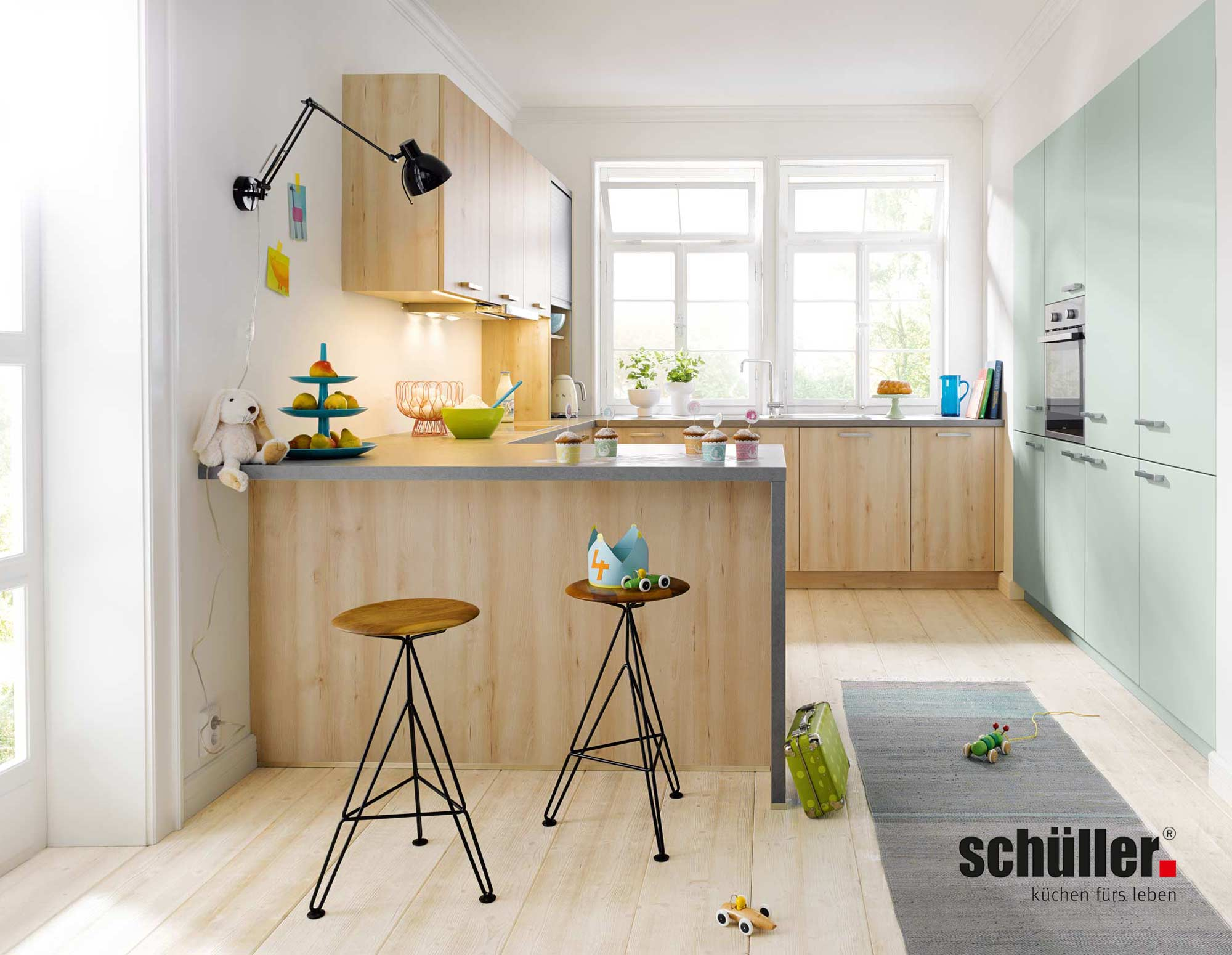 Schüller Bari Wohnküche in Buche/Betonnachbildung