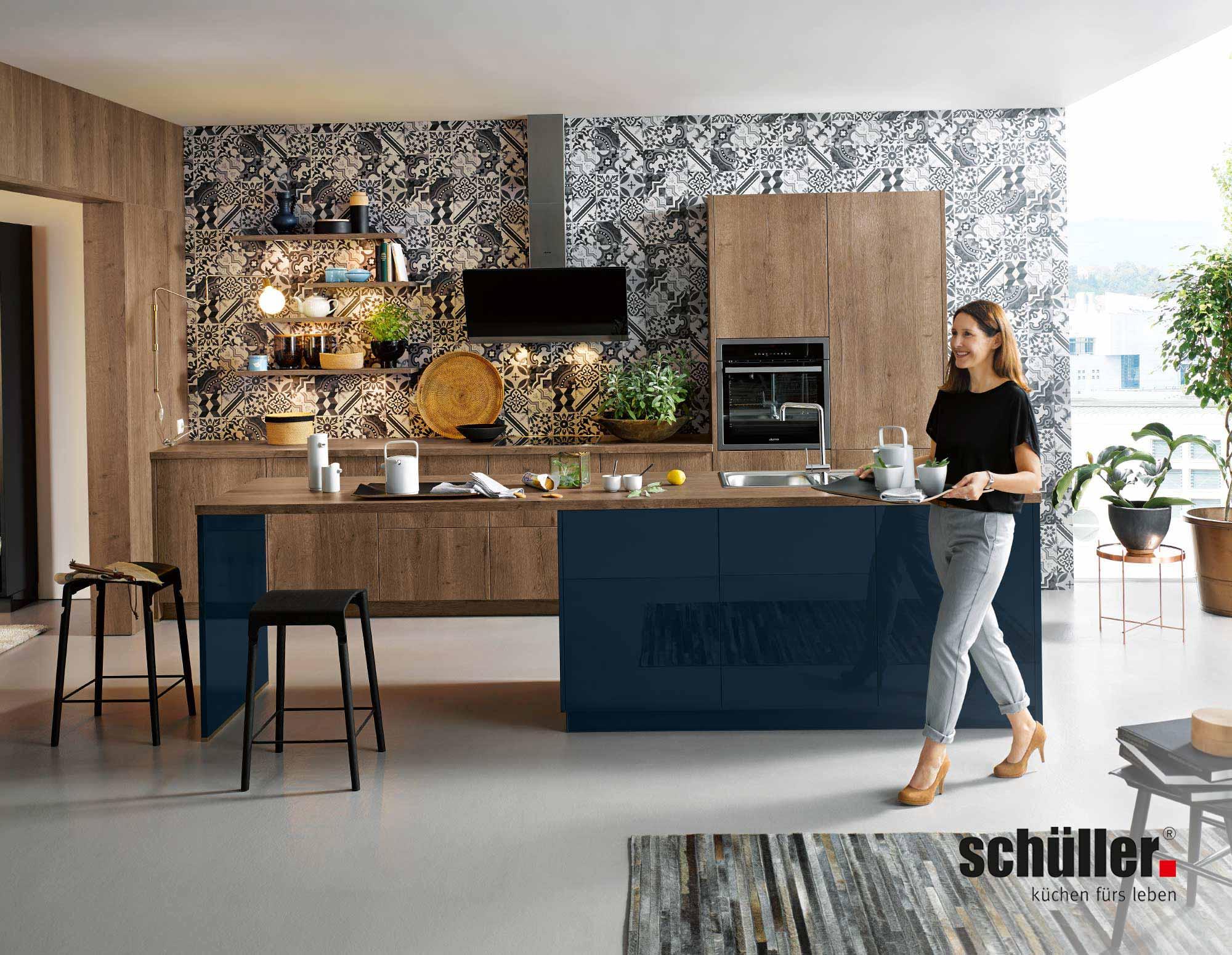 Schüller Cremona Inselküche in Eiche Nachbildung