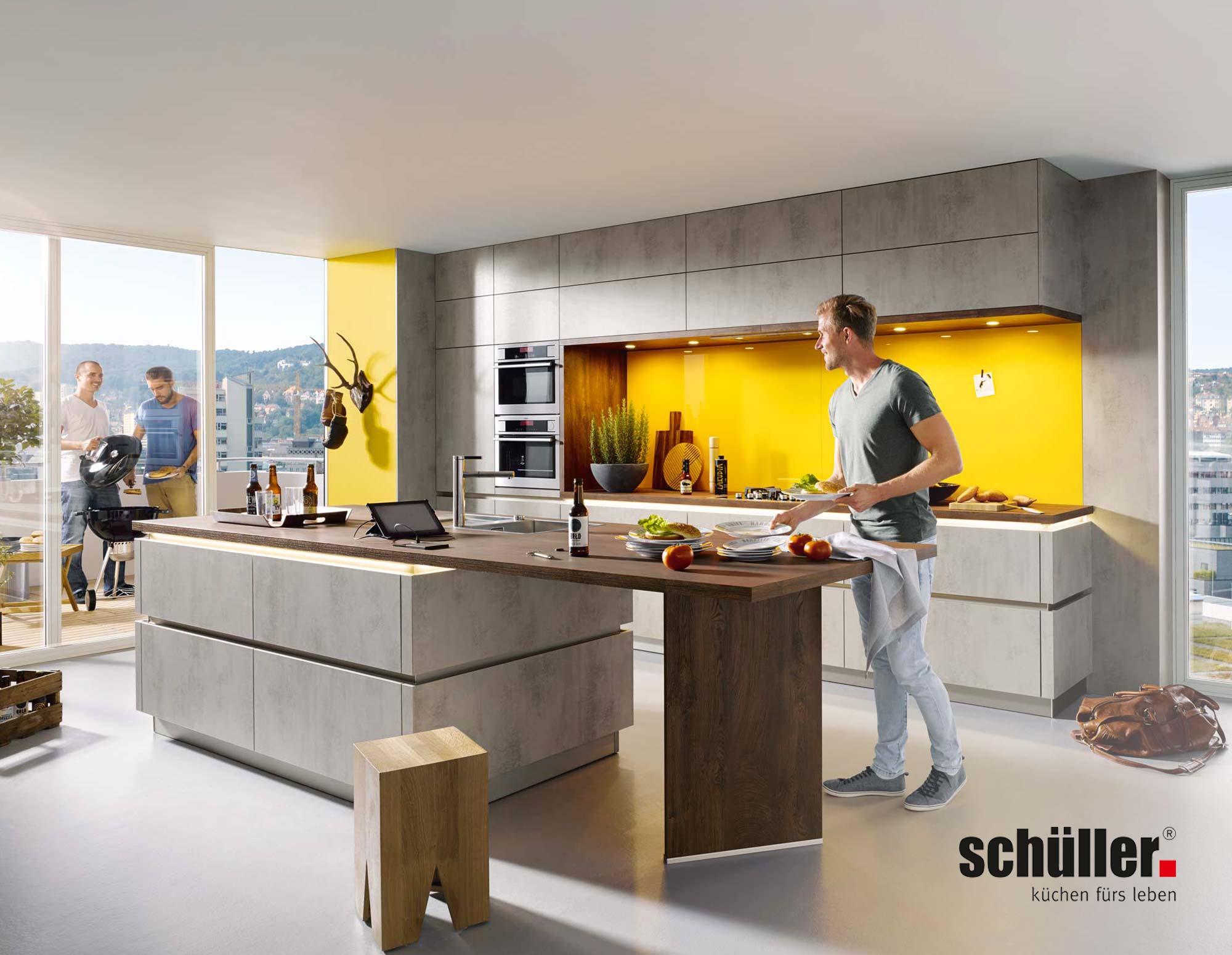 Schüller Elba Küche in Beton-Nachbildung grau