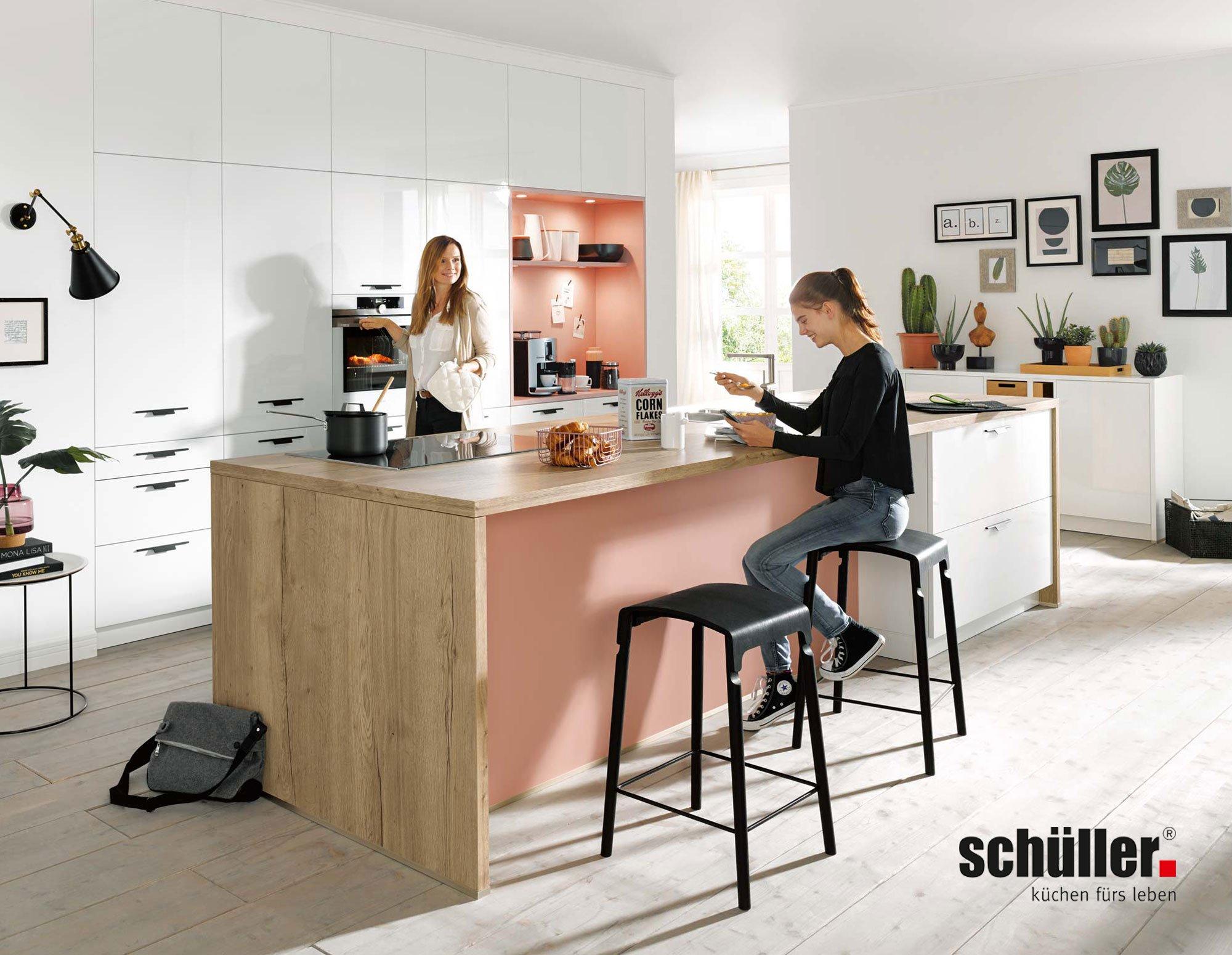 Schüller Fino Küche in Lack weiß/rosa