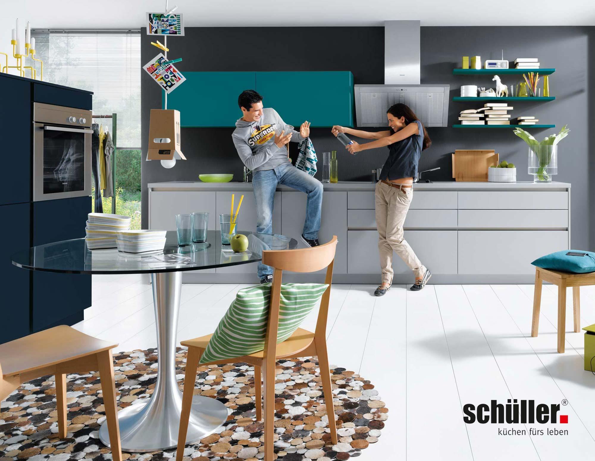 Schüller Nova Küche in grau/ petrol