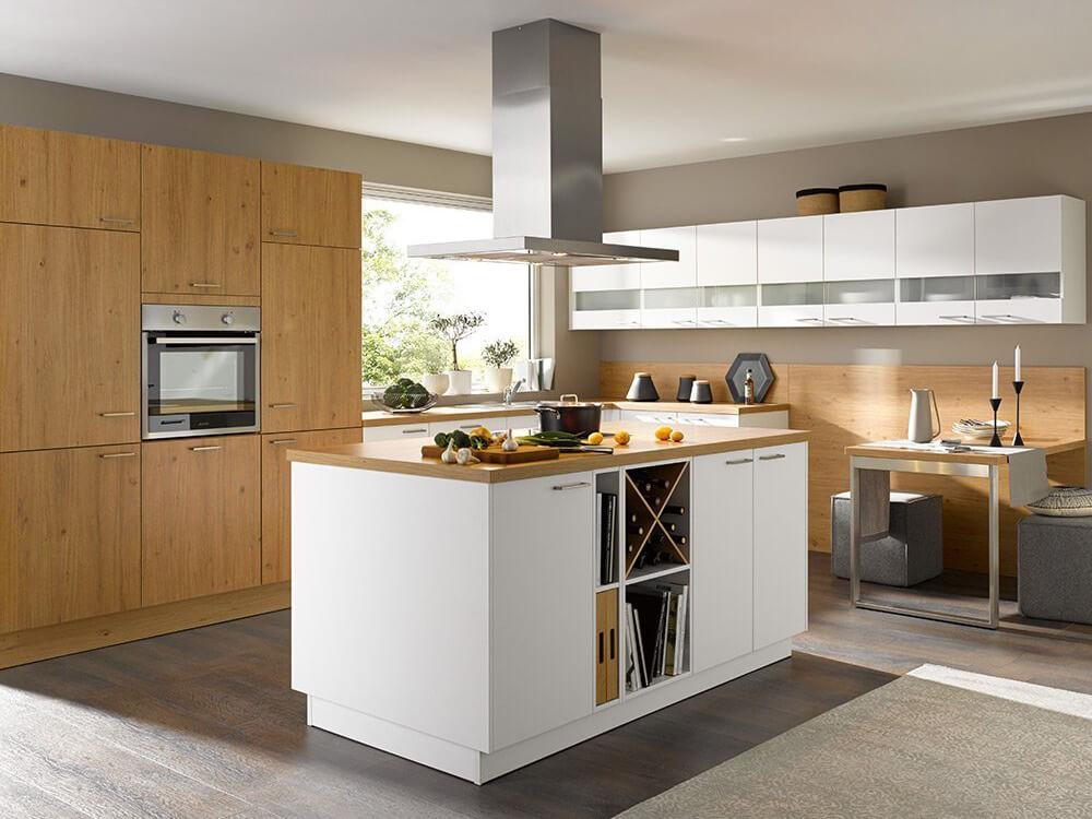 Wohnküche Global, Inselküche, Kochinsel, Eiche, weiß