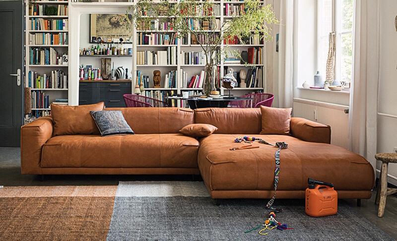 freistil Sofa 136 von Rolf Benz, Loungegarnitur, braunes Leder