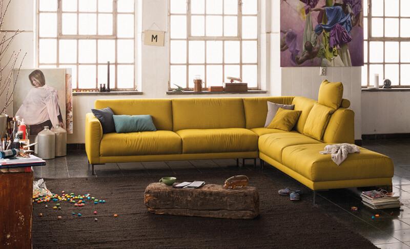 freistil Sofa 141 von Rolf Benz, gelbes Leder
