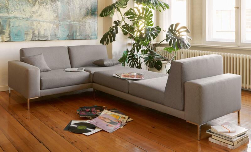freistil Sofa 183 von Rolf Benz, grauer Stoff, Module
