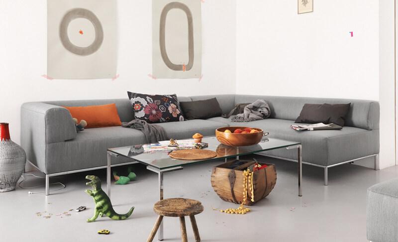 Freistil Sofa 185 von Rolf Benz, grauer Stoff