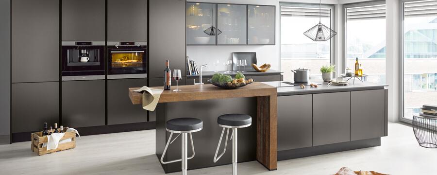Inselküche Contur, grau, Kochinsel, Qualitätsküche