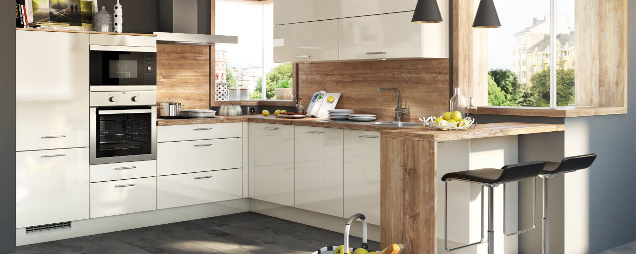 günstige Küche Aktiv, Hochglanz, kleine Küche