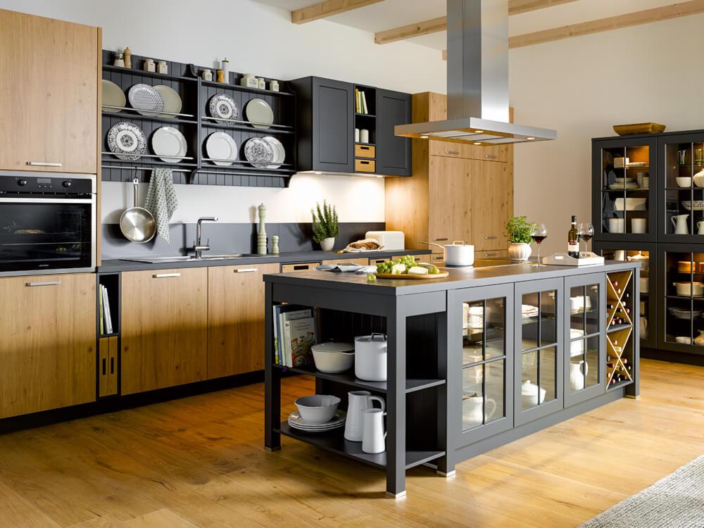 Landhausküche Global, Eiche, Grau, modern, Küchenberatung, Service