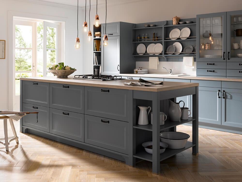 Landhausküche hellgrau, Contur Küche, modern