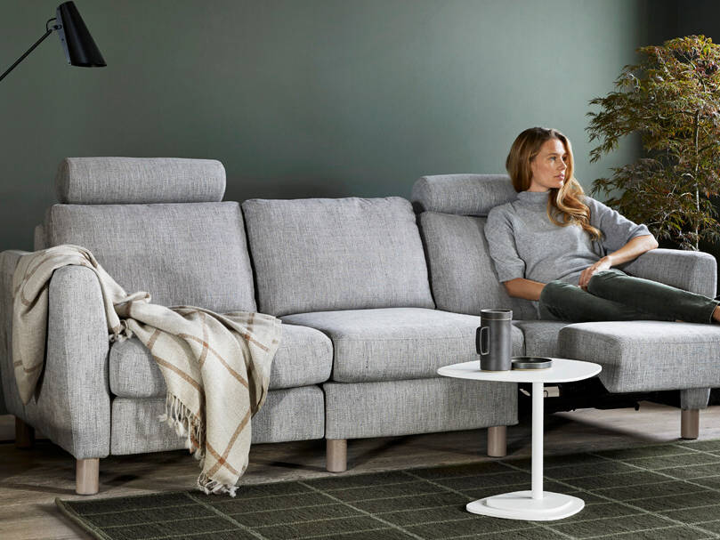 Stressless Sofa Emma Power, motorischer verstellbar, grauer Stoff