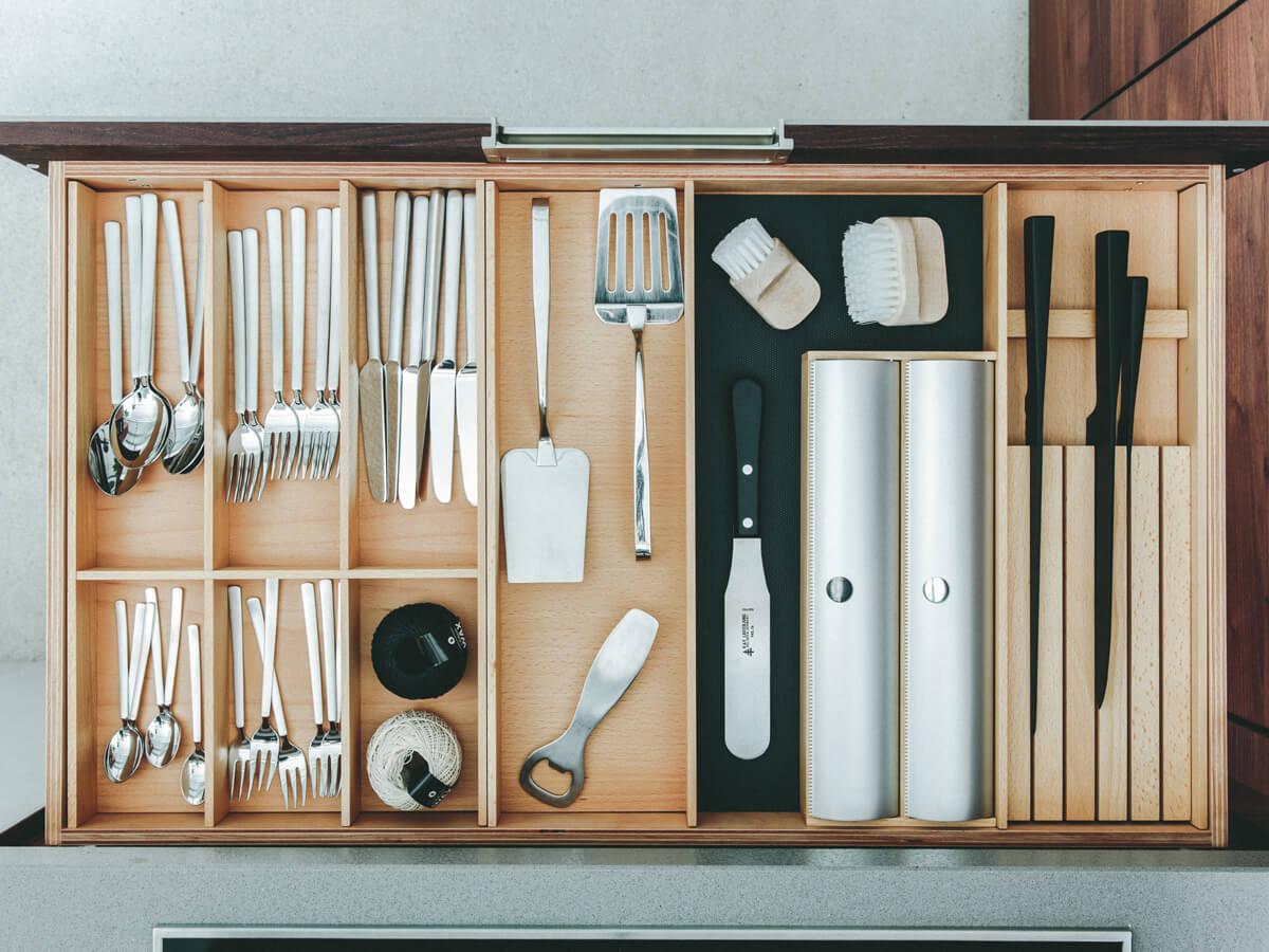 Schubladeneinsatz für Massivholzküche von walden, Einsatz Schubkasten, Besteckeinsatz