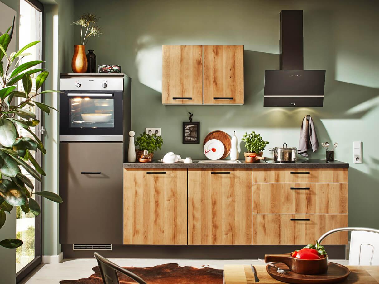 Küchenzeile Pino, kleine Küche, Holznachbildung