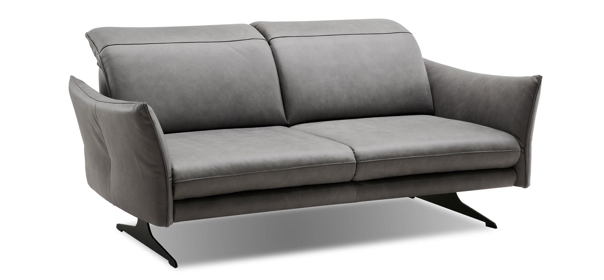 Natura Burnett Sofa in Leder grau, hochwertig, mit Sitztiefenverstellung