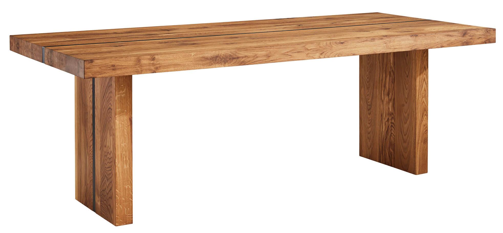 Moderner Massivholztisch Natura Lakewood Eiche massiv mit Metallstreifen