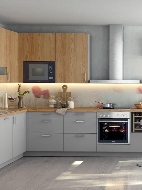 Küche Marke Global-50.100 Winkelküche Fronten in grau