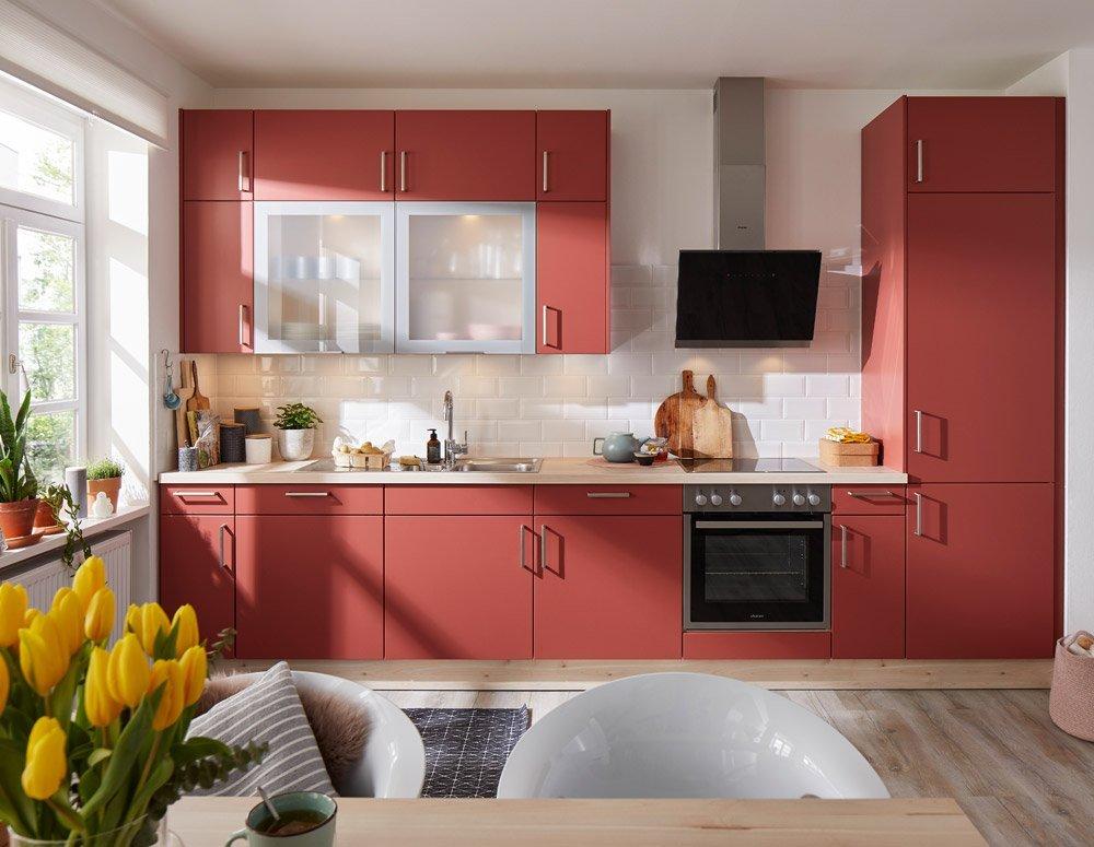 moderne Küchenzeile Global in Lack rot-matt