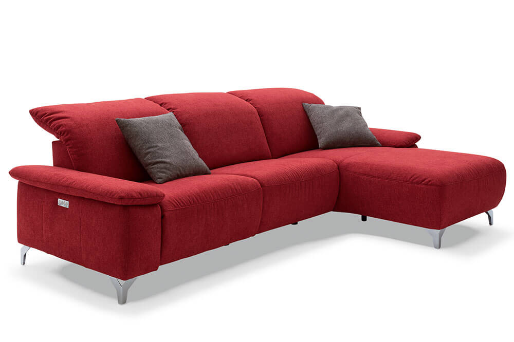 Safa Marke Musterring MR-370 Ecksofa in Rot mit motorischer Relaxfunktion