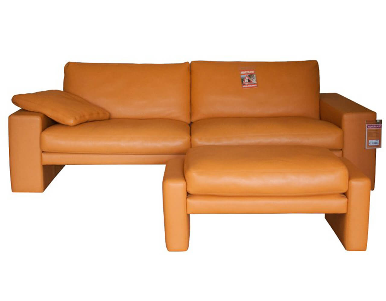 3-Sitzer Sofa mit Hocker in Leder cognac zum Schnäppchenpreis im Abverkauf