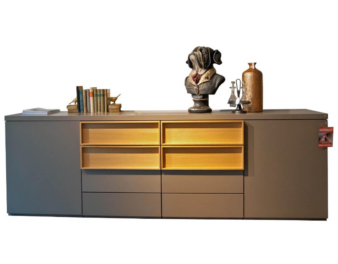 Sideboard im Abverkauf - hellgraue Fronten und Schubladen in Eiche