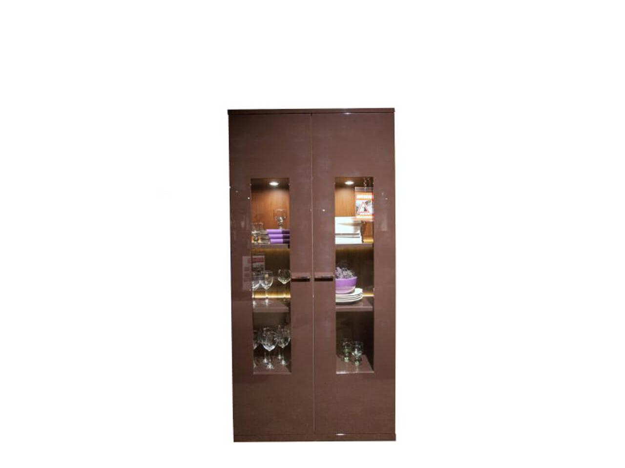 Vitrine Finale in braun Hochglanz mit zwei Türen - zum Schnäppchenpreis im Abverkauf