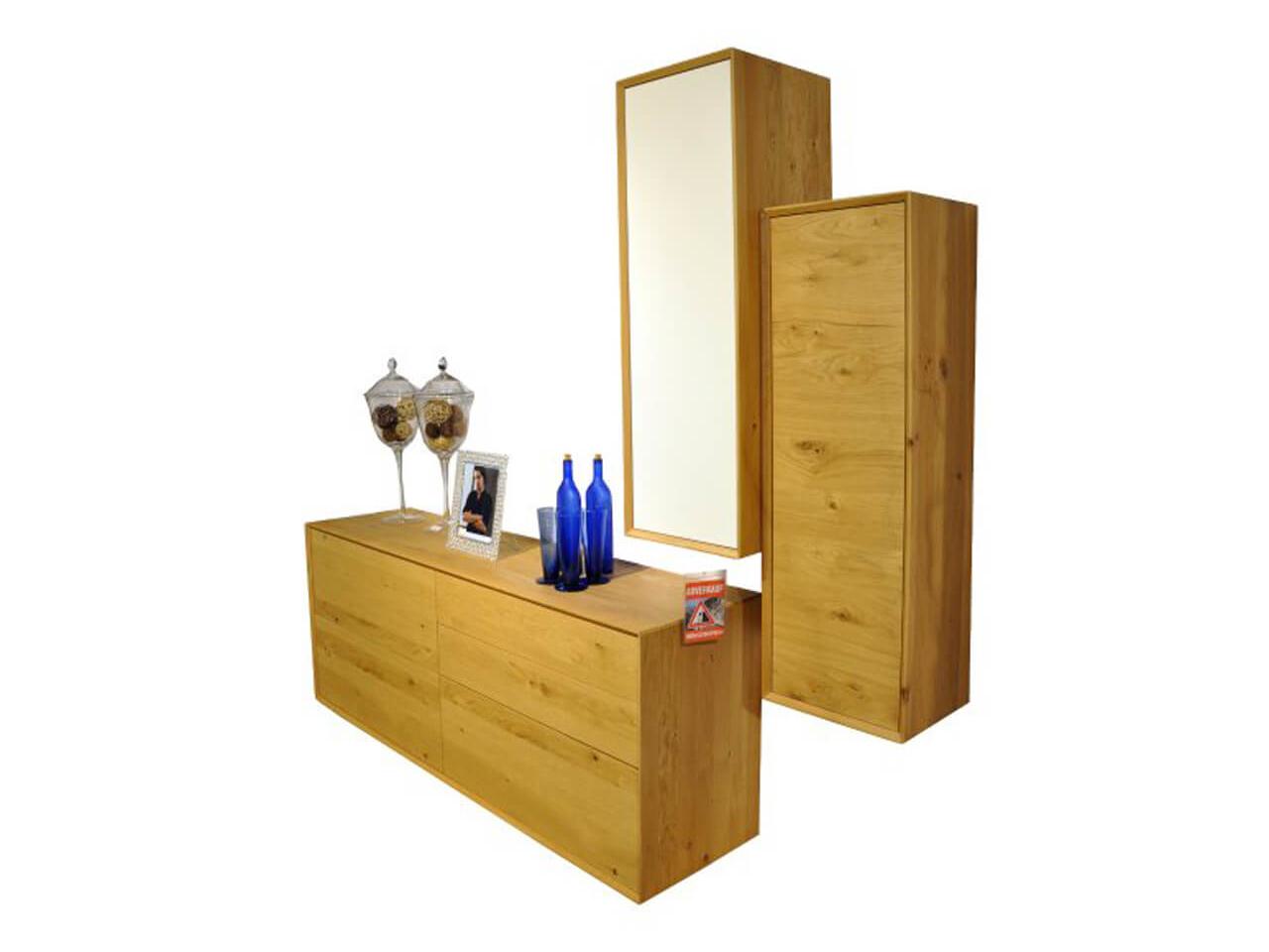 Wohnkombination Global Salamanca in massiver Wildeiche - bestehend aus Sideboard un Hängeschränken - Ausstellungsstück im Abverkauf