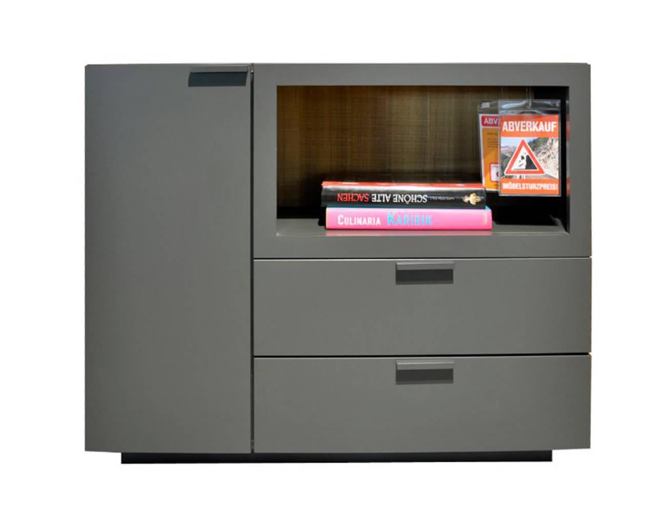 kleines Sideboard Global 4450 mit grauen Fronten im Abverkauf