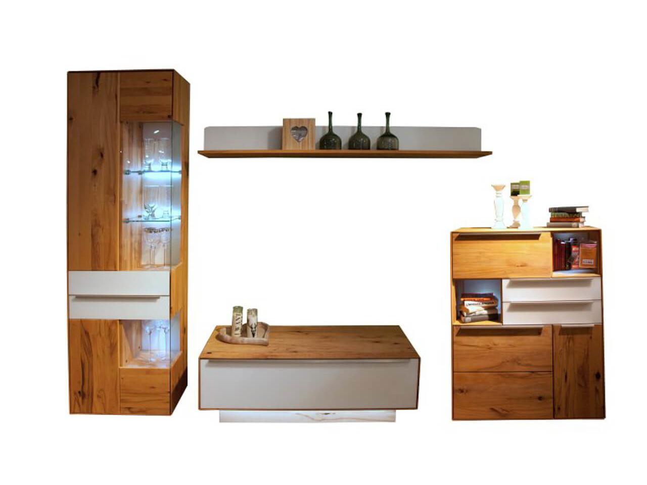 Wohnwand Ramos in Buche massiv mit Absetzungen in Glas weiß, bestehend aus Lowboard, Vitrine, Sideboard und Wandboard - zum Schnäppchenpreis im Abverkauf