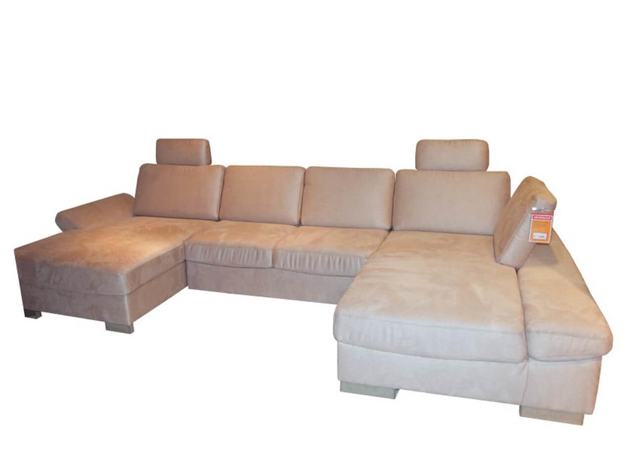 Wohnlandschaft - großes Sofa in U-Form mit hellem Stoffbezug - zum günstigen Preis im Abverkauf