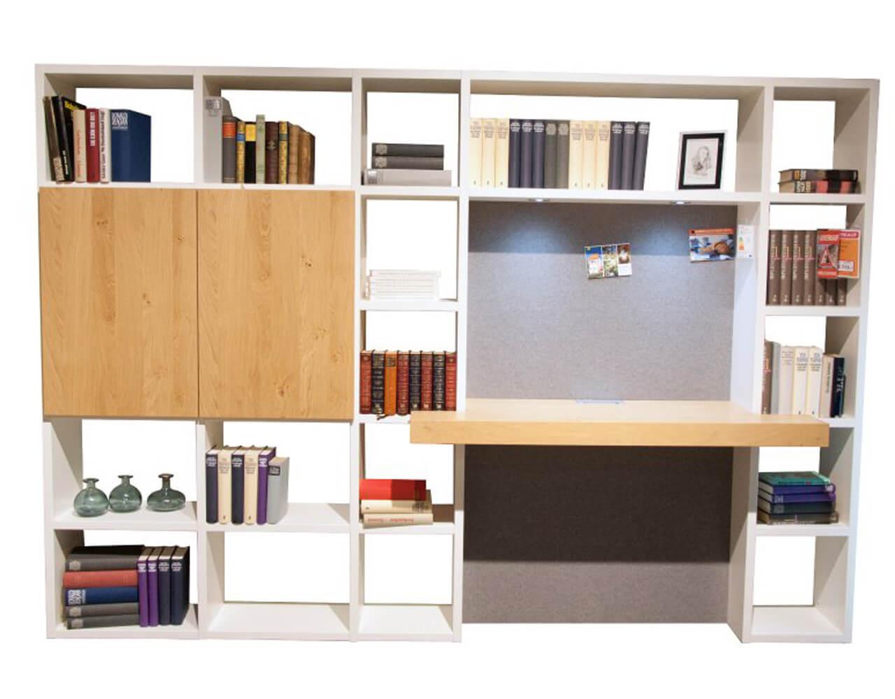Regalwand Global 4450 mit integriertem Schreibtisch im Abverkauf - Regale in weiß, Schreibplatte in Eiche Nachbildung