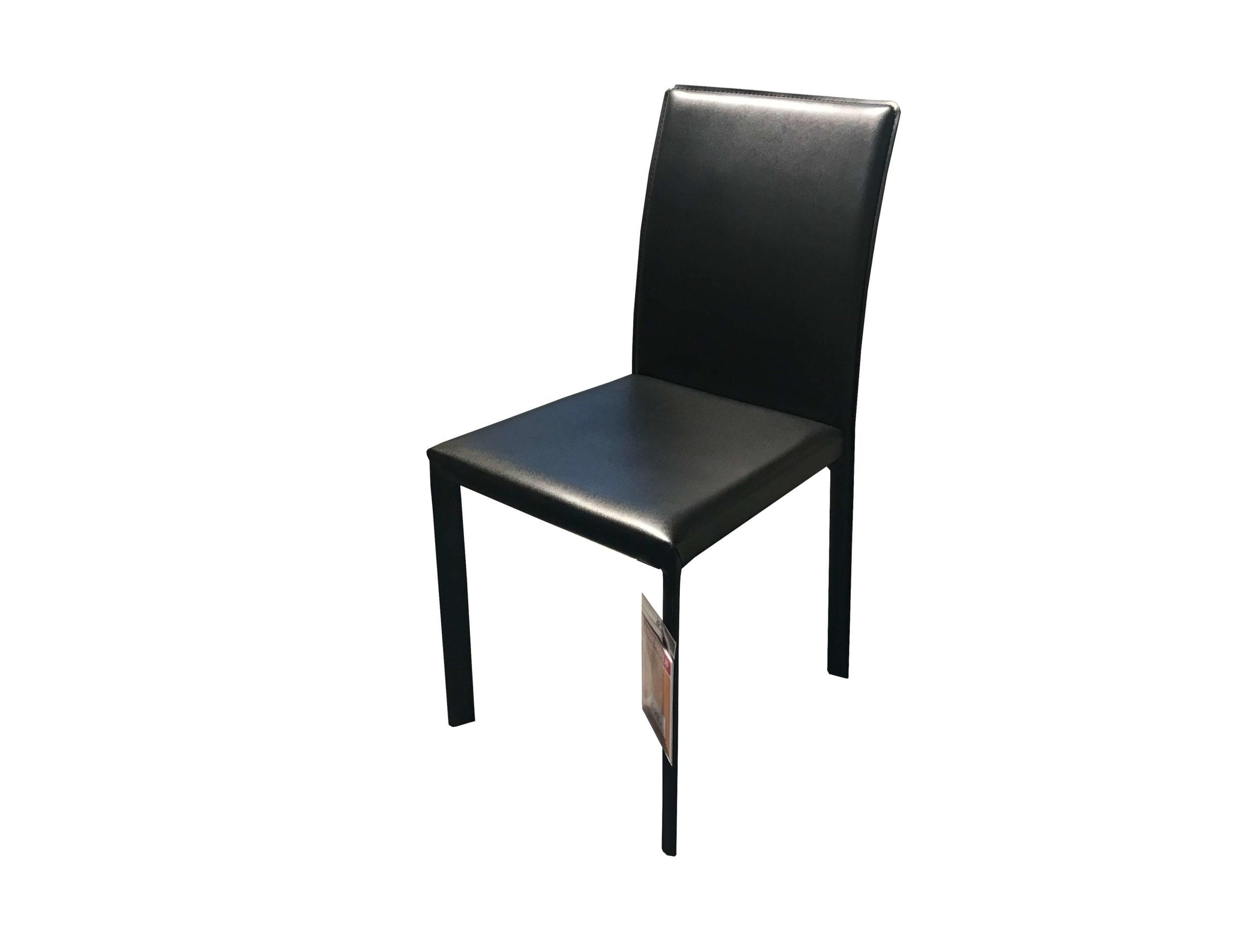 Design Stuhl von Global in schwarzem Leder - Abverkauf zum Schnäppchenpreis