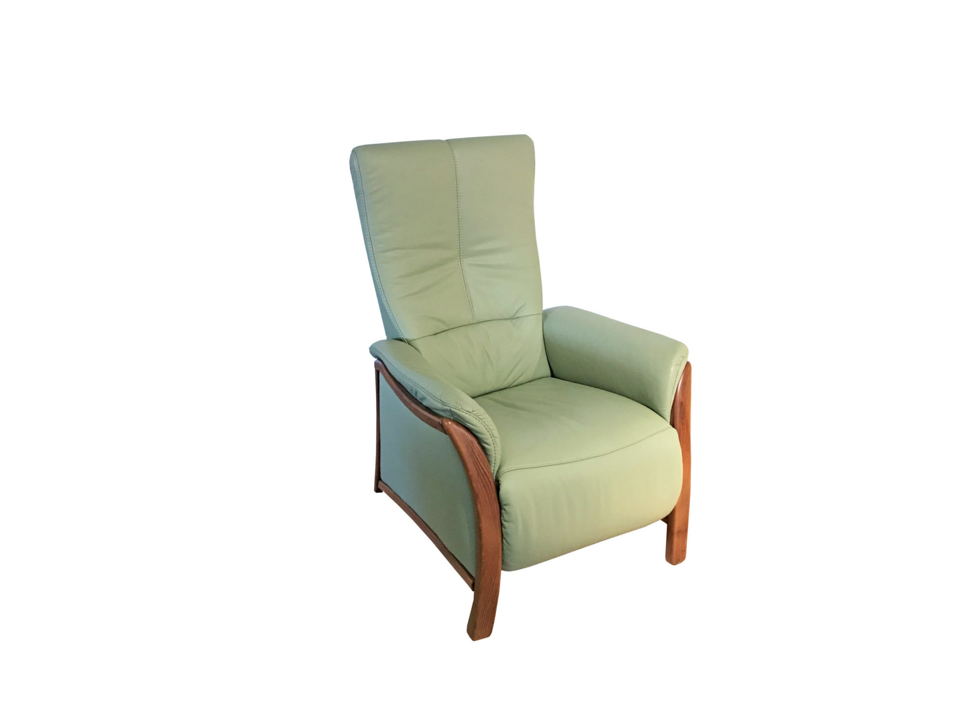 Relaxsessel mit grünem Leder zum Schnäppchenpreis im Abverkauf