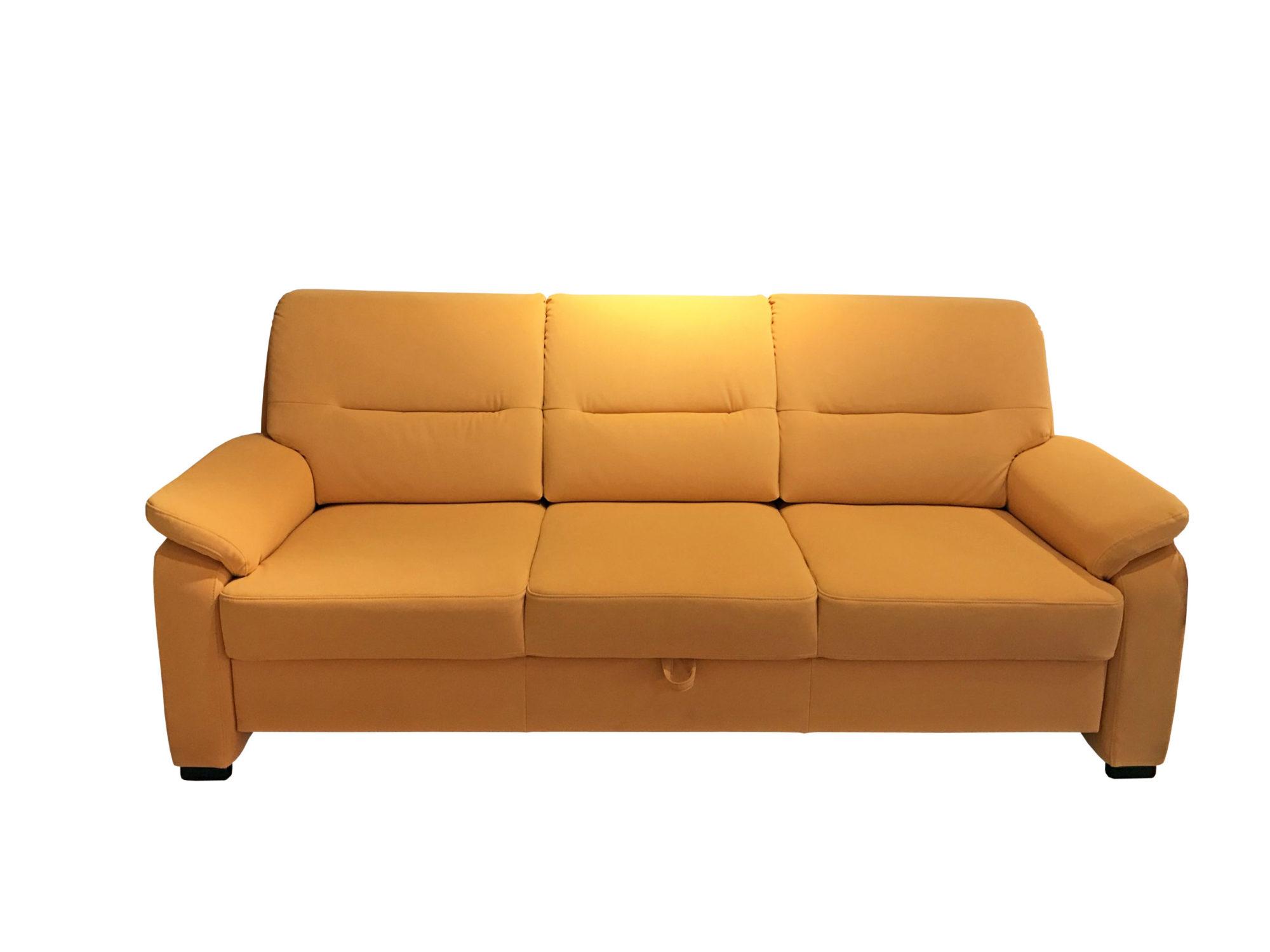 3-Sitzer Sofa mit leuchtend gelbem Stoffbezug im Abverkauf