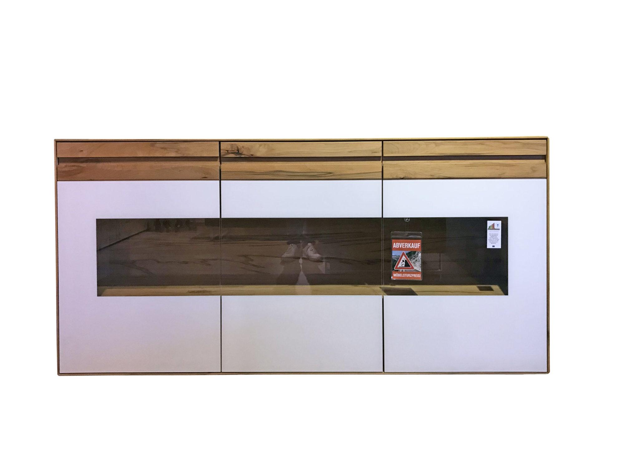 Sideboard in Kernbuche massiv mit Absetzungen in weiß - zum Schnäppchenpreis im Abverkauf