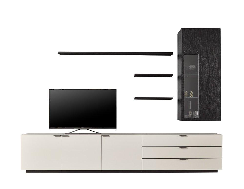Moderne Wohnwand Marke Global-4450 in Lack grau, Eiche schwarz furniert