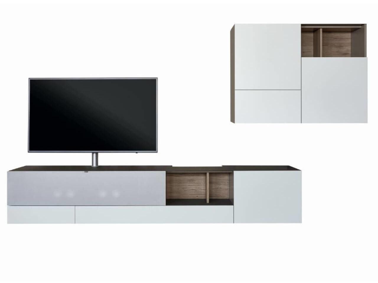 Wohnwand Raumfreunde Niba mit Soundbar - bestehend aus Lowboard un Hängeschrank, in weiß mit Absetzungen in Eiche - Ausstellungsstück im Abverkauf