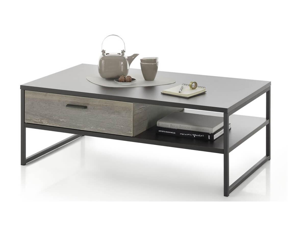 Couchtisch Imilia von Viva in Metall grau mit praktischer Schublade und Ablage-Fach