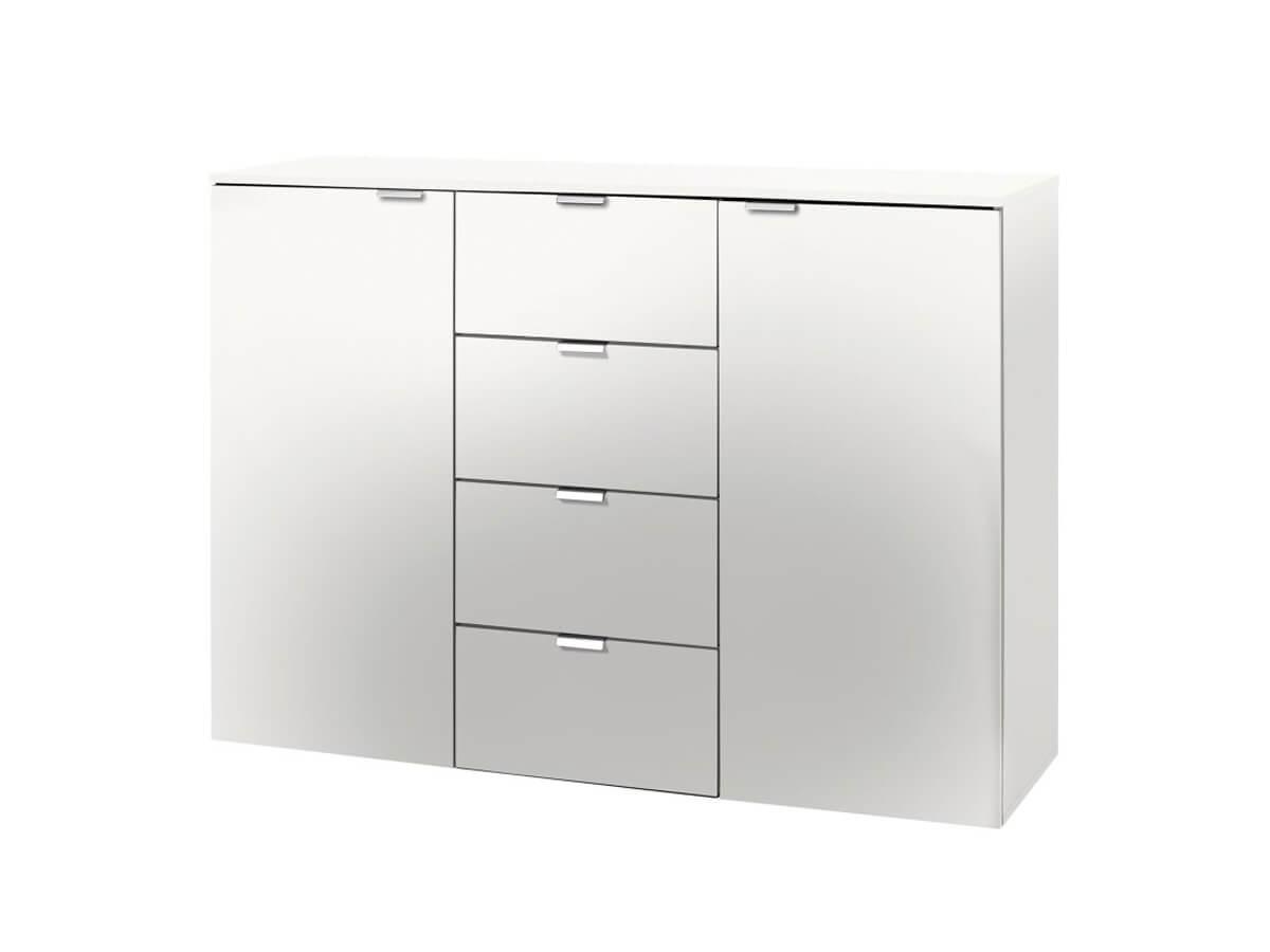 Kommode Edition von Viva in polarweiß mit zwei Türen und vier Schubladen