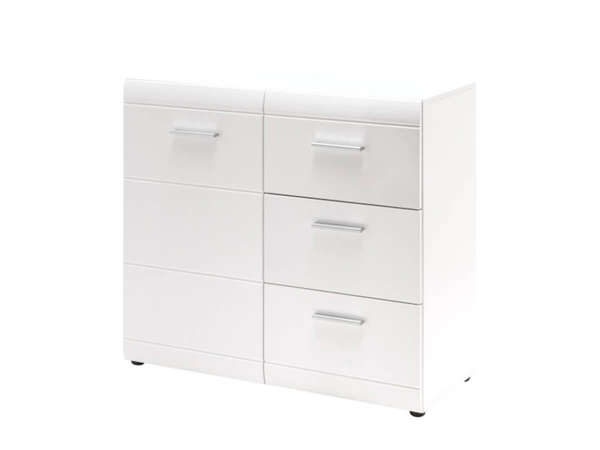Sideboard Galdo in weiß Hochglanz mit drei Schubladen und einer Türe