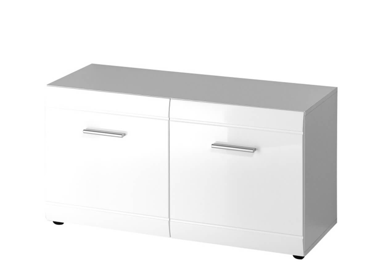 Schuhbank Galdo mit zwei Türen, in weiß Hochglanz