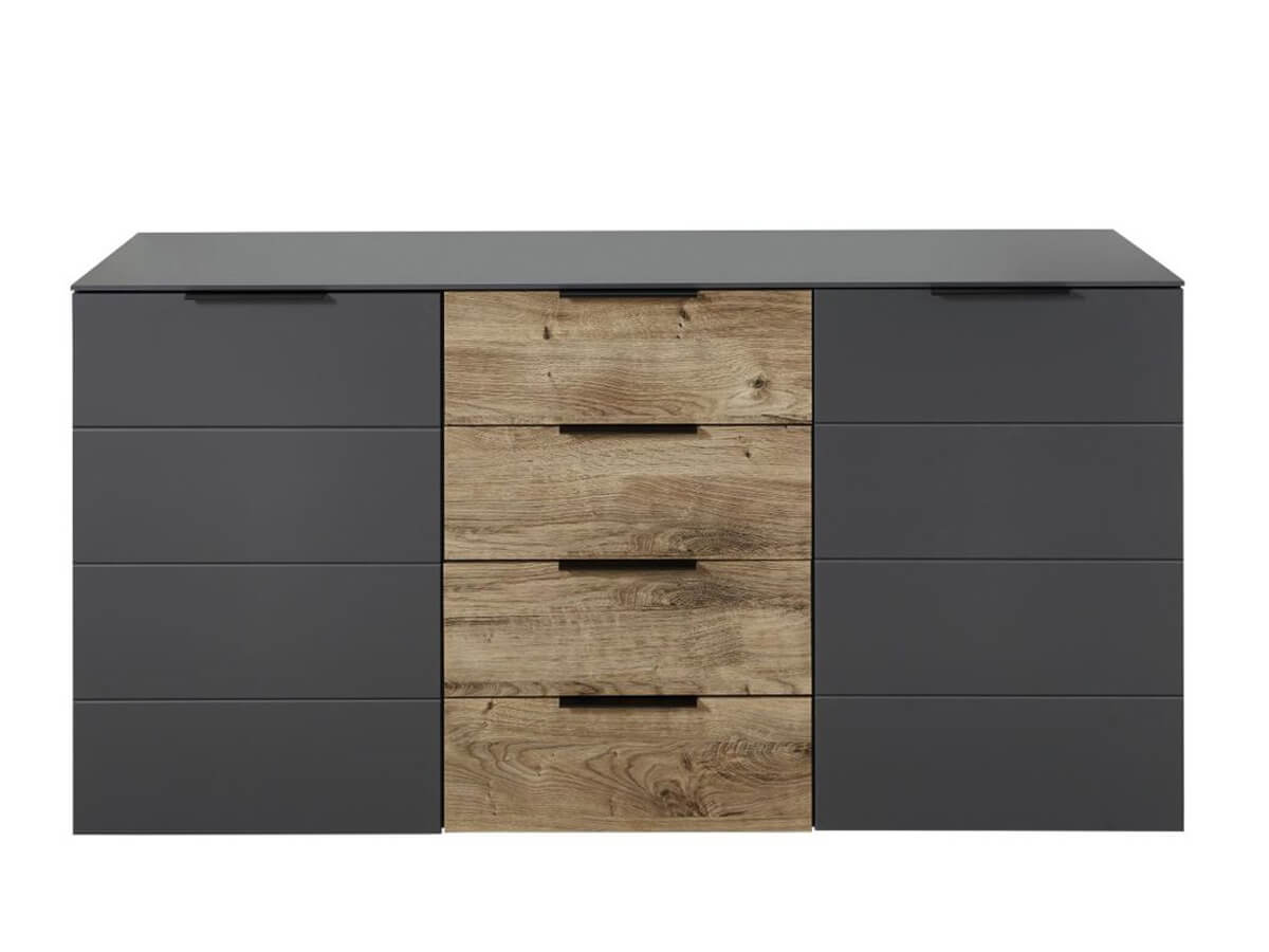 Sideboard Ira in Graphit mit Absetzungen in Eiche, 2 Türen und 4 Schubladen
