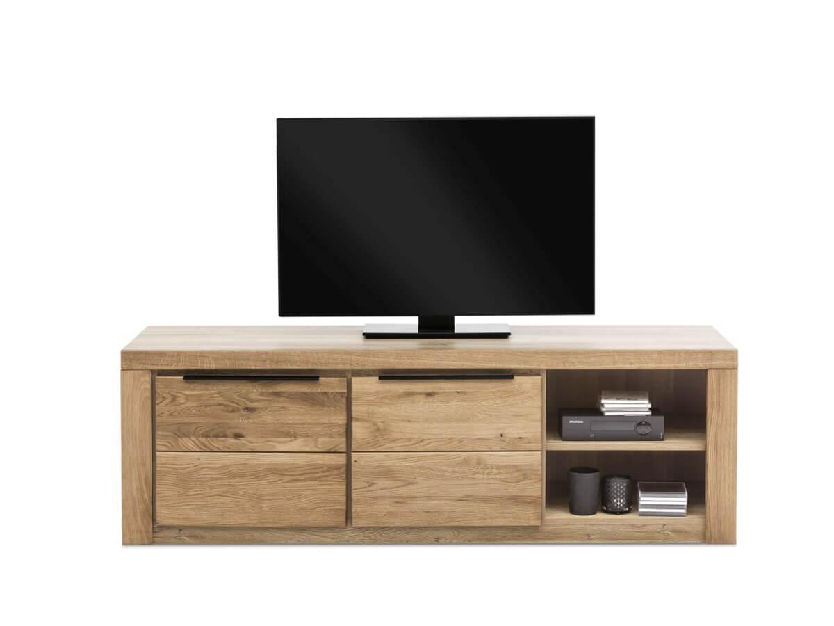 TV-Lowboard Eltia von Viva in Eiche teilmassiv mit zwei Holztüren und einem offenen Fach