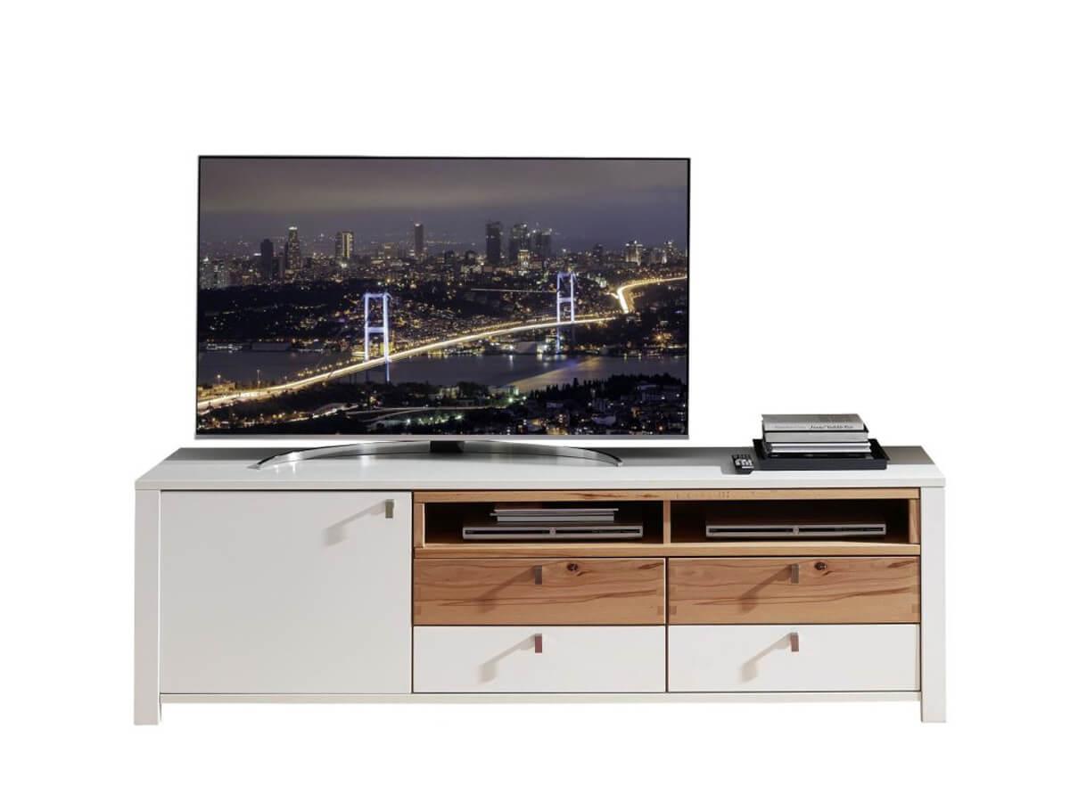TV-Möbel Inola in weiß matt mit Absetzungen in Wildbuche - mit vier Schubladen, einer Tür und zwei offenen Fächern